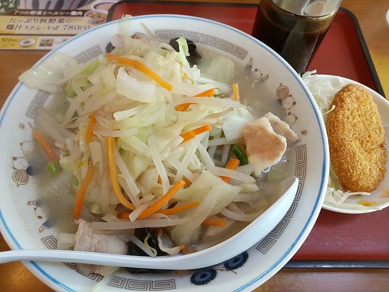 山田うどん食堂の「野菜たっぷりタンメン」