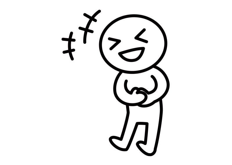 お笑いDVDを見てお腹を抱えて笑う人のイラスト
