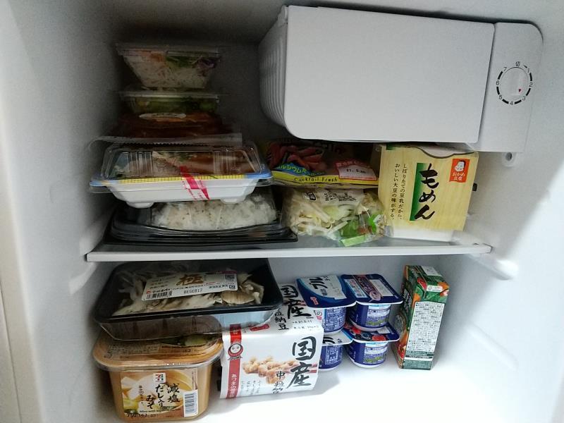 46Lの冷蔵庫に収納できた食材